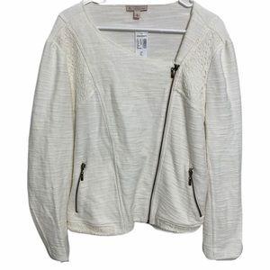 Dress Barn Moto Style Zip Up Jacket White Knit XL